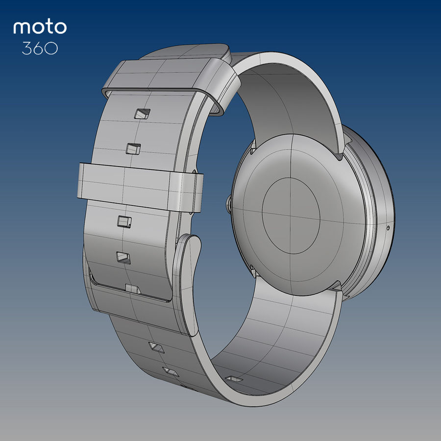 Motorola moto360 leather + NURBS royalty-free 3d model - Preview no. 10