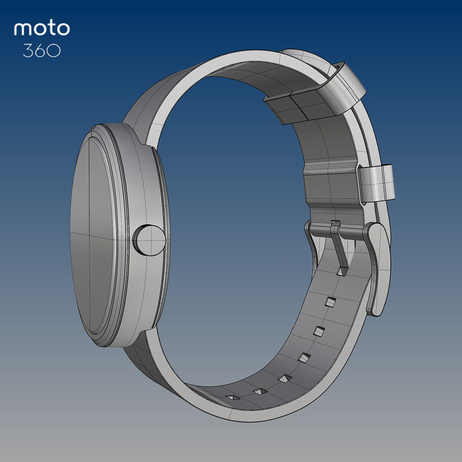 Motorola moto360 leather + NURBS royalty-free 3d model - Preview no. 4