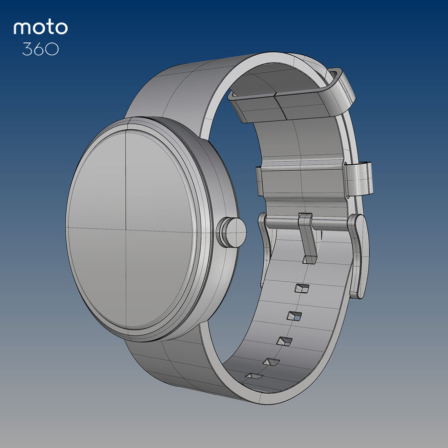 Motorola moto360 leather + NURBS royalty-free 3d model - Preview no. 6