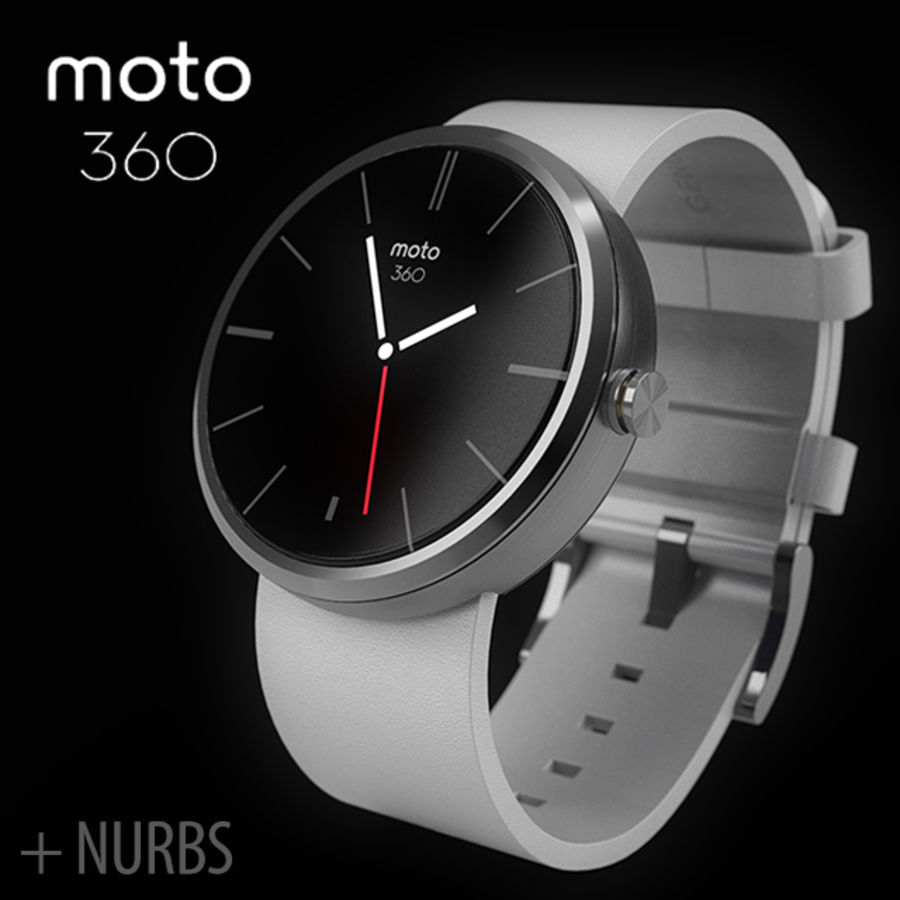 Motorola moto360 leather + NURBS royalty-free 3d model - Preview no. 1