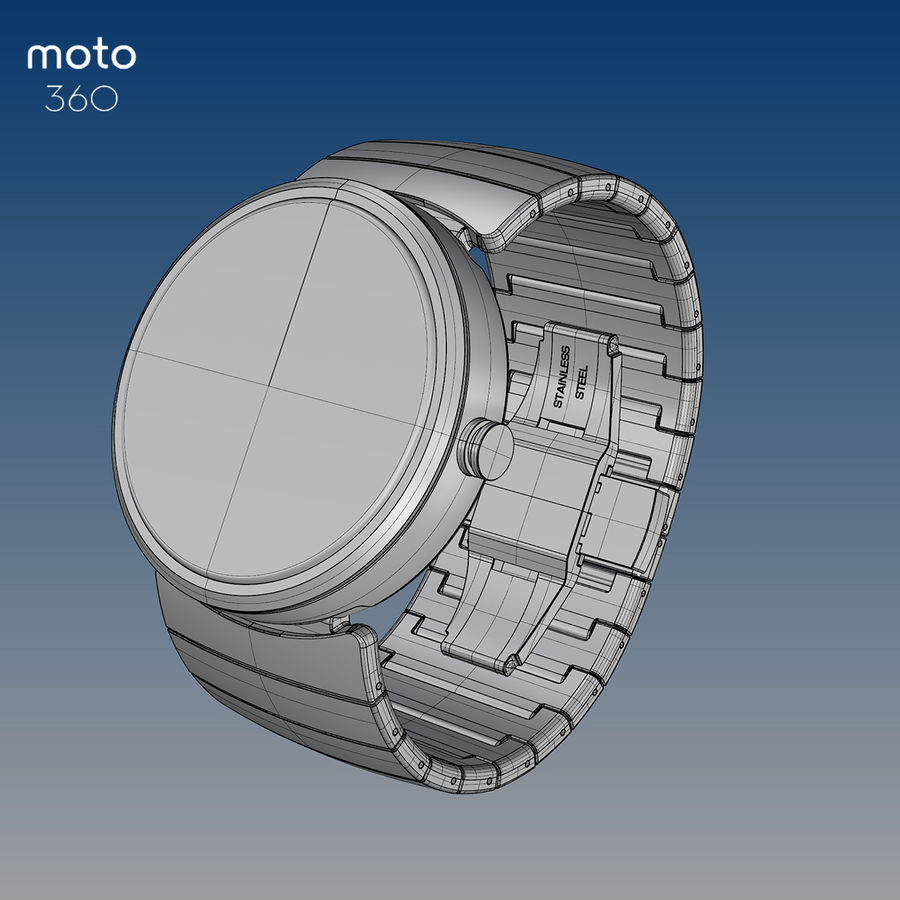 Motorola Moto 360 metal + NURBS royalty-free 3d model - Preview no. 3