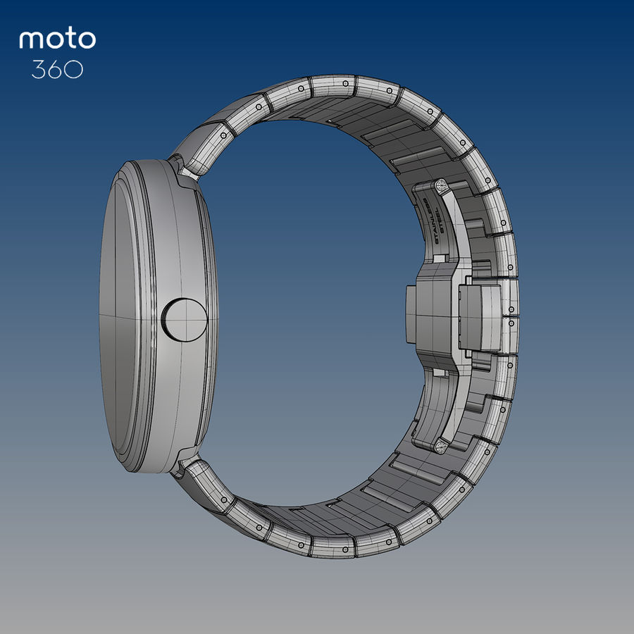 Motorola Moto 360 metal + NURBS royalty-free 3d model - Preview no. 7