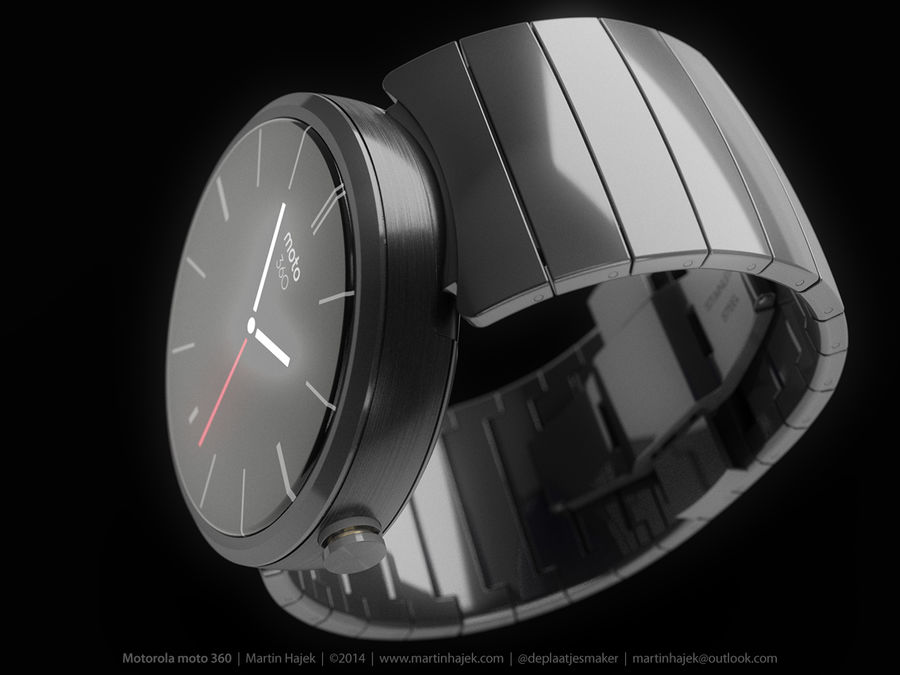 Motorola Moto 360 metal + NURBS royalty-free 3d model - Preview no. 13