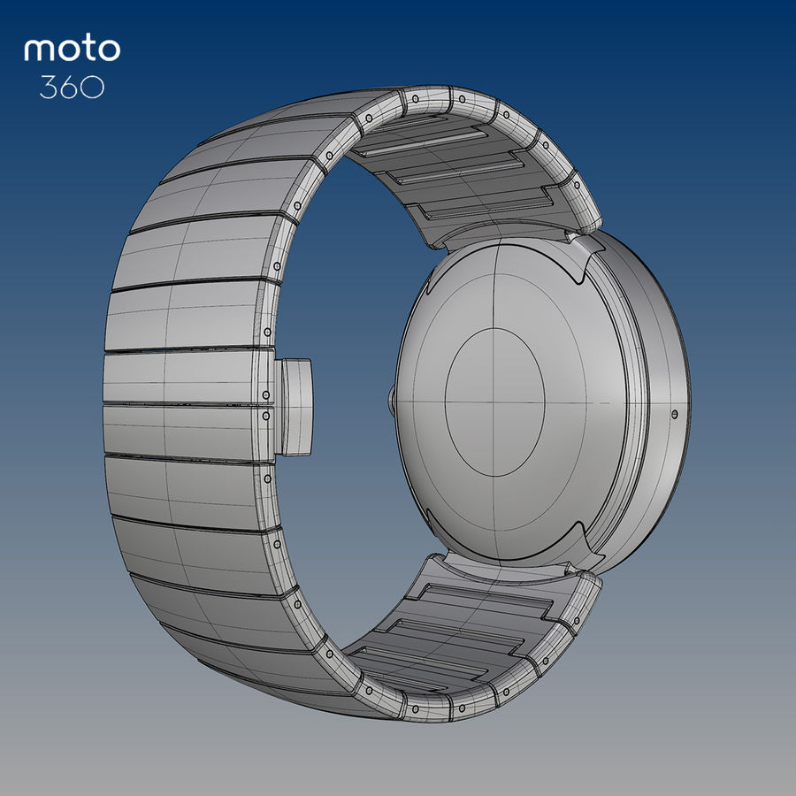 Motorola Moto 360 metal + NURBS royalty-free 3d model - Preview no. 5