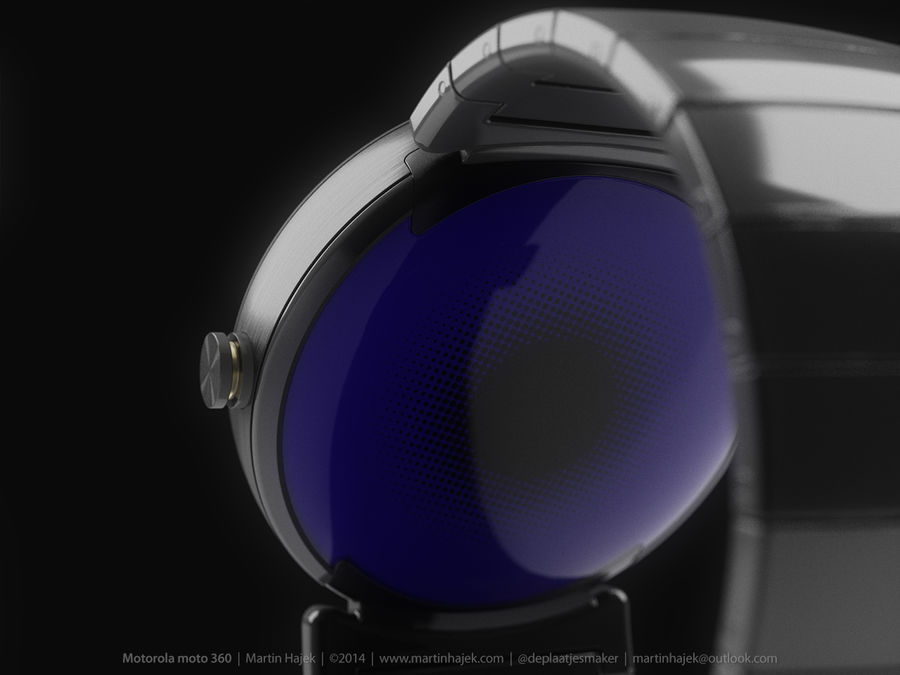 Motorola Moto 360 metal + NURBS royalty-free 3d model - Preview no. 10
