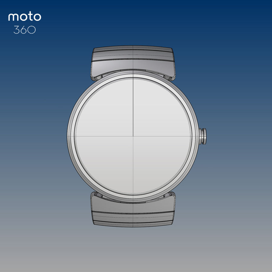 Motorola Moto 360 metal + NURBS royalty-free 3d model - Preview no. 2