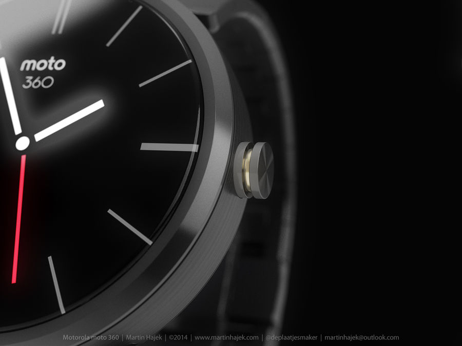 Motorola Moto 360 metal + NURBS royalty-free 3d model - Preview no. 9