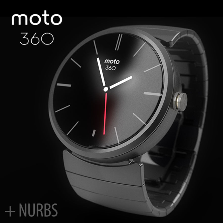 Motorola Moto 360 metal + NURBS royalty-free 3d model - Preview no. 1