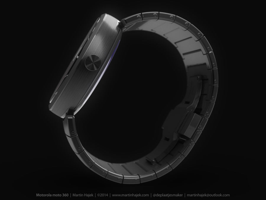 Motorola Moto 360 metal + NURBS royalty-free 3d model - Preview no. 8