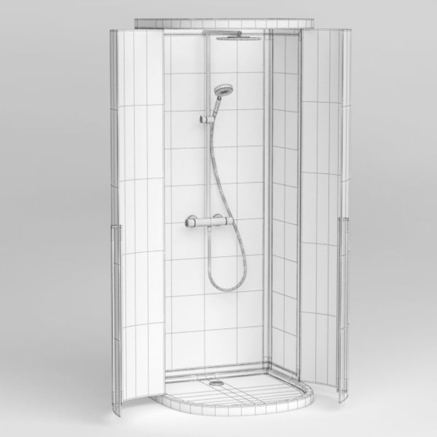 Shower cabin016 royalty-free 3d model - Preview no. 6