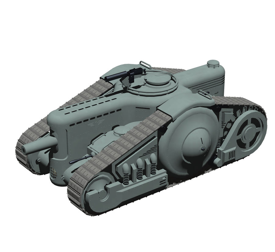 Dieselpunk tank royalty-free 3d model - Preview no. 1
