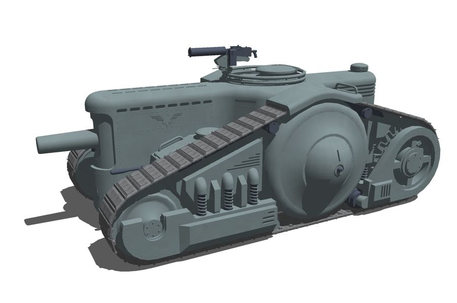 Dieselpunk tank royalty-free 3d model - Preview no. 6