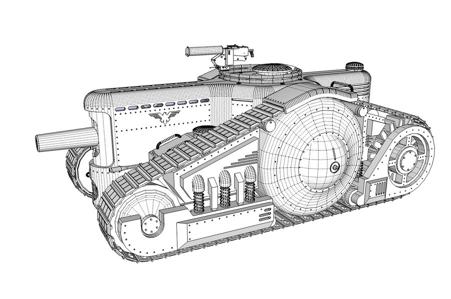 Dieselpunk tank royalty-free 3d model - Preview no. 5