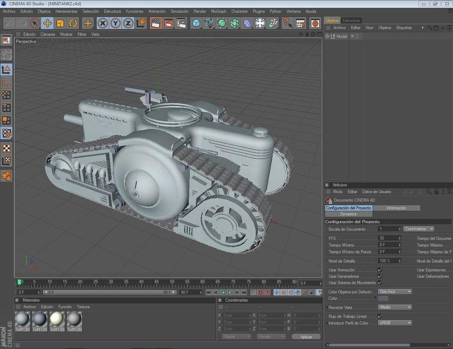 Dieselpunk tank royalty-free 3d model - Preview no. 3