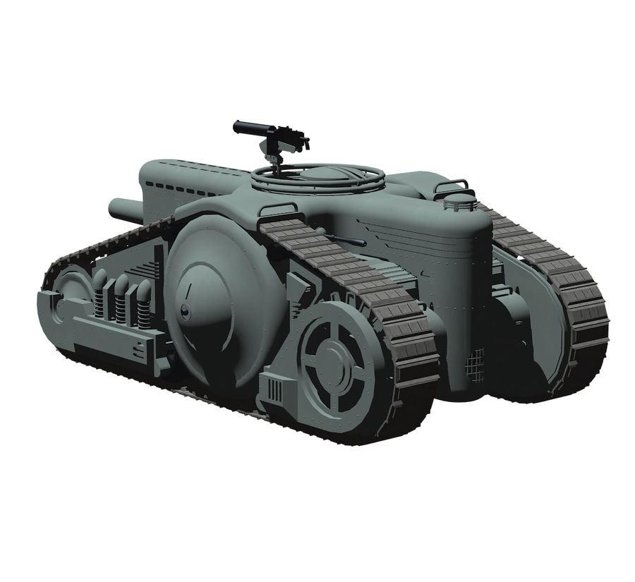 Dieselpunk tank royalty-free 3d model - Preview no. 9