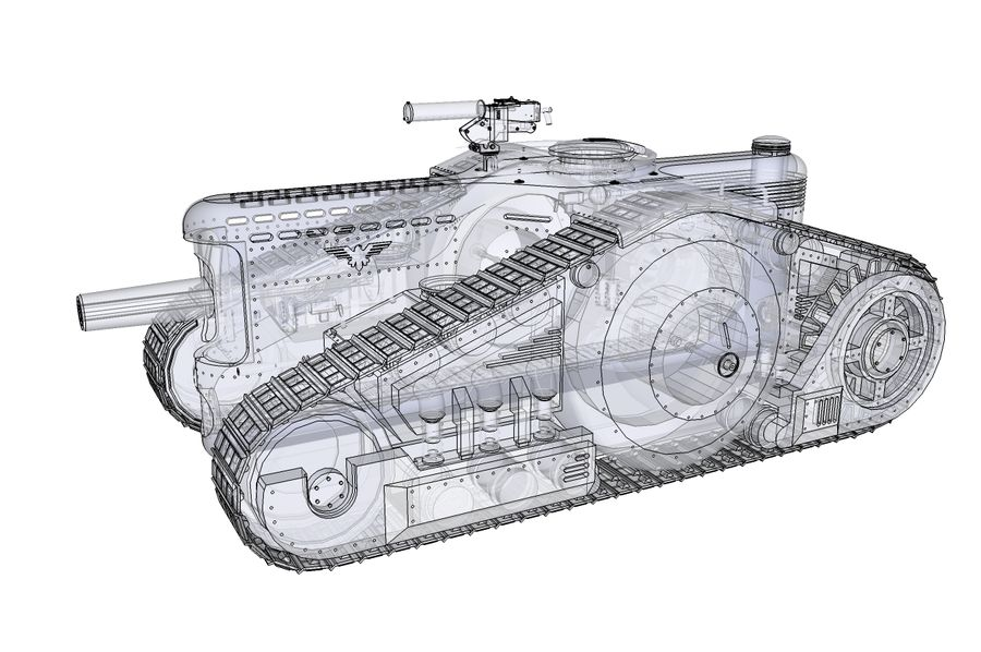 Dieselpunk tank royalty-free 3d model - Preview no. 4