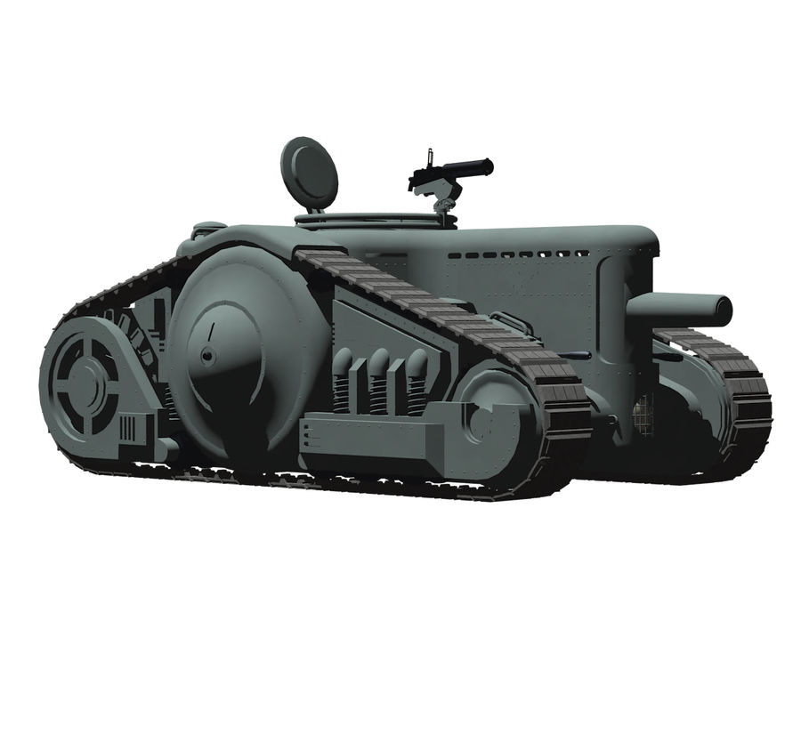 Dieselpunk tank royalty-free 3d model - Preview no. 8