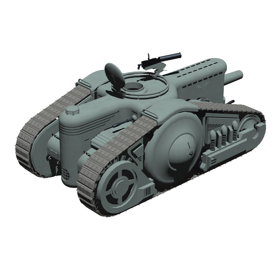 Dieselpunk tank royalty-free 3d model - Preview no. 7