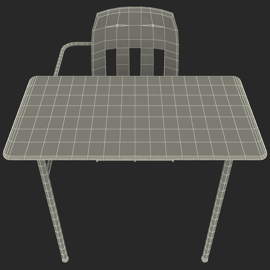 Students Desk royalty-free 3d model - Preview no. 24