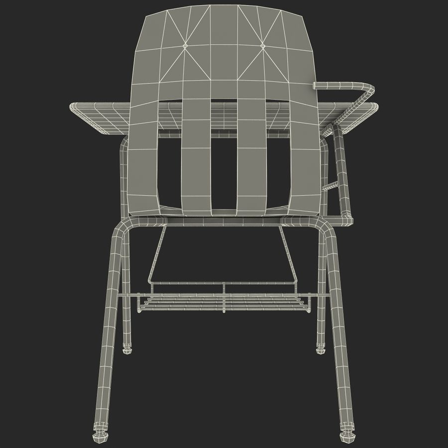 Students Desk royalty-free 3d model - Preview no. 22