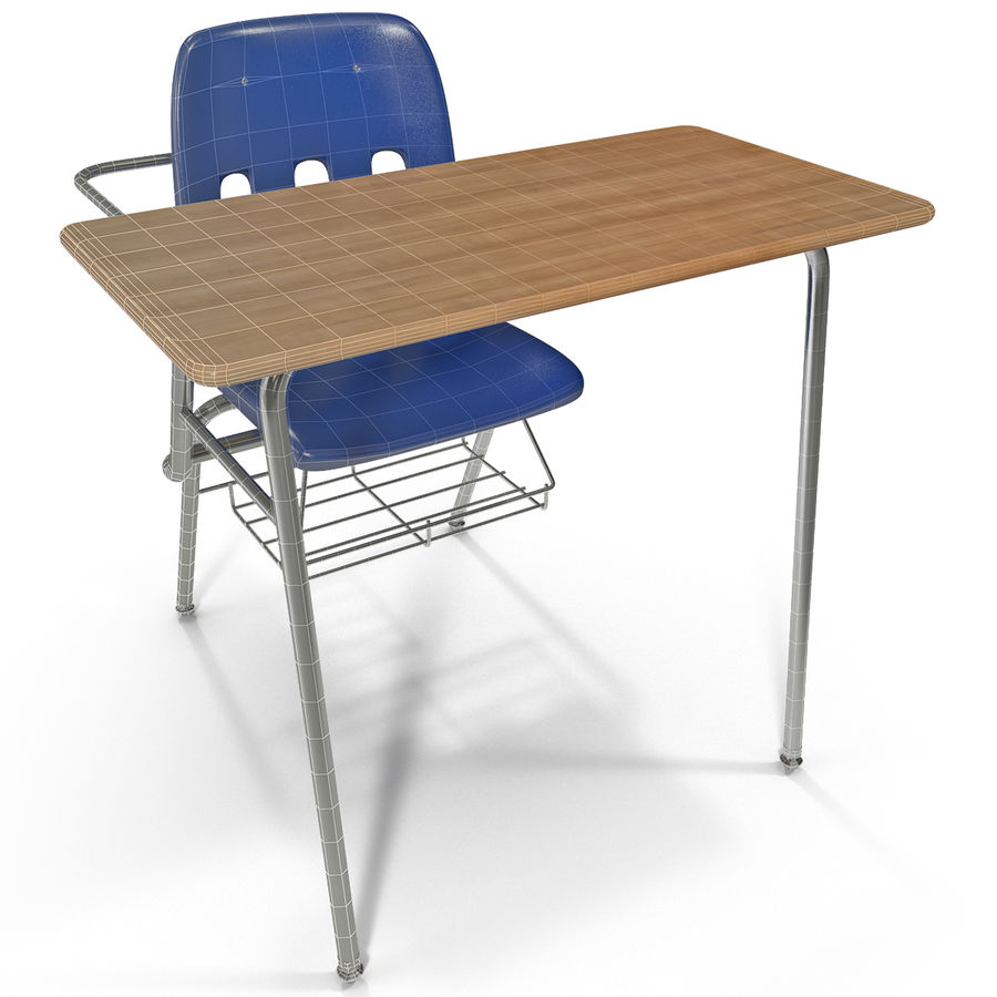 Students Desk royalty-free 3d model - Preview no. 19