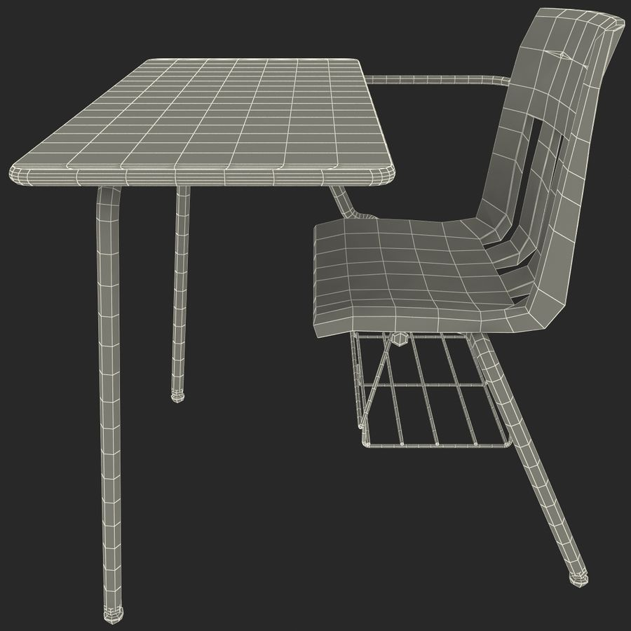 Students Desk royalty-free 3d model - Preview no. 21