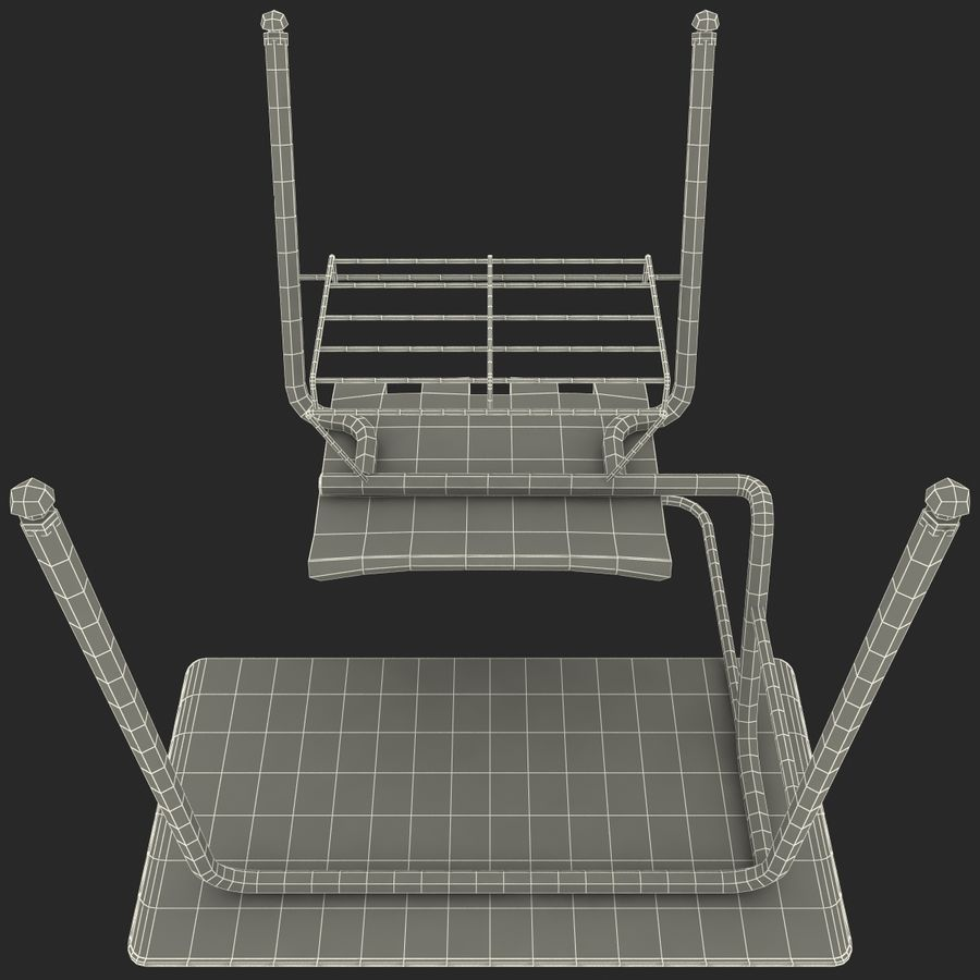 Students Desk royalty-free 3d model - Preview no. 25