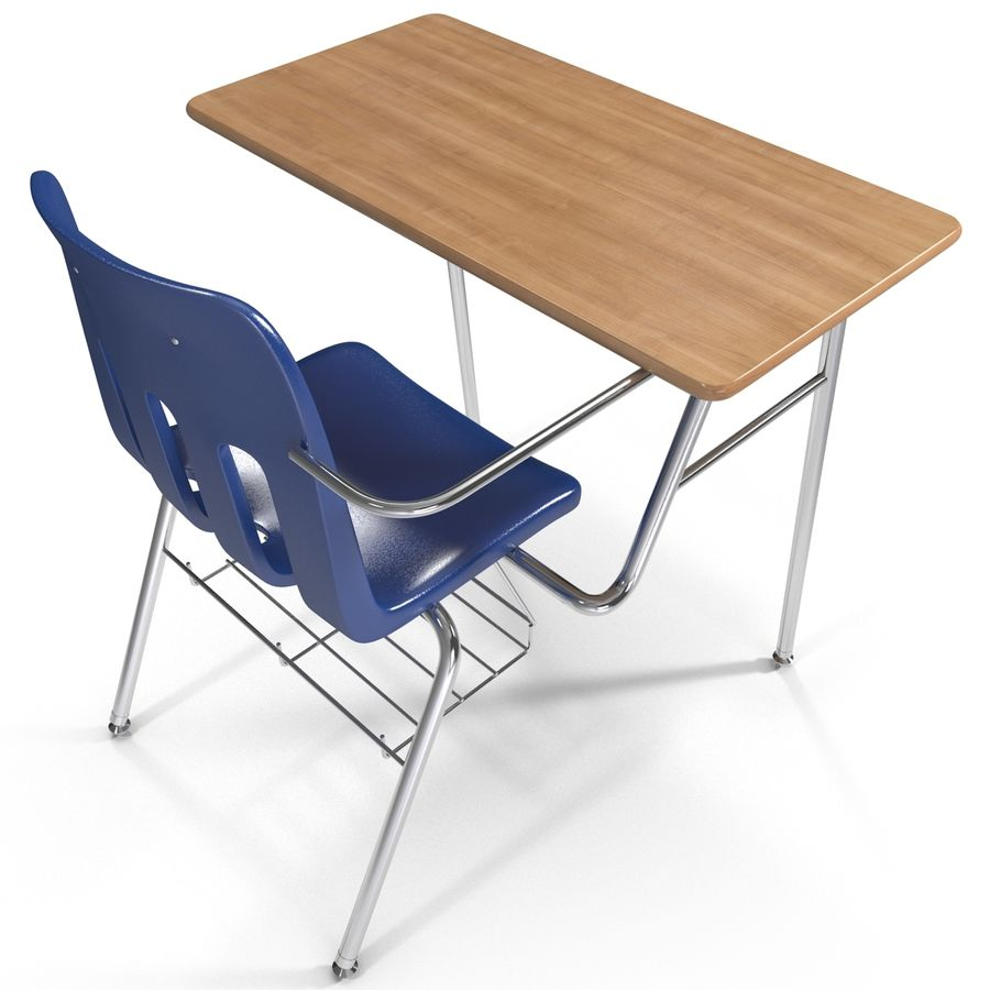 Students Desk royalty-free 3d model - Preview no. 11