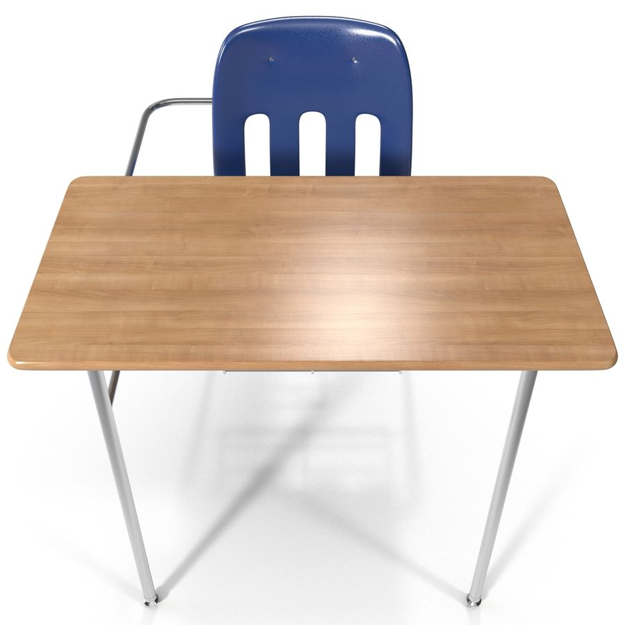 Students Desk royalty-free 3d model - Preview no. 7
