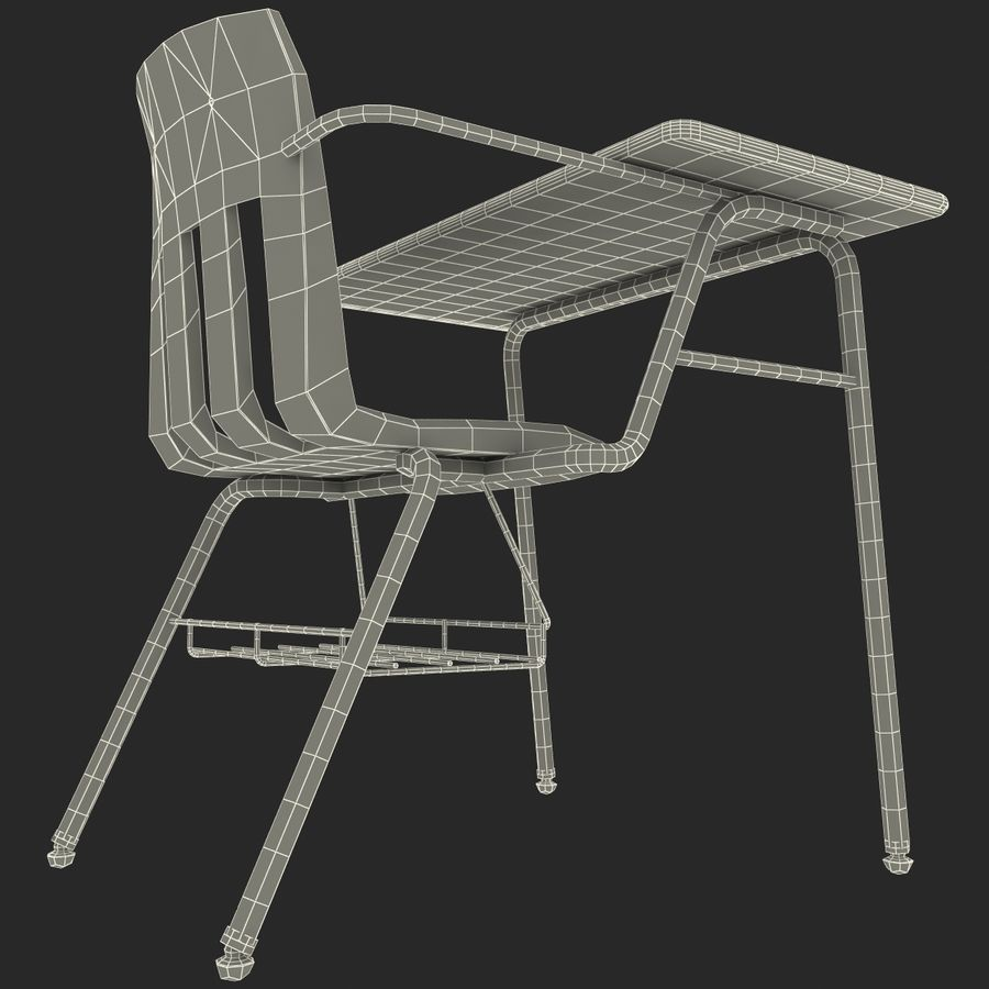 Students Desk royalty-free 3d model - Preview no. 29