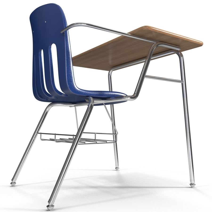 Students Desk royalty-free 3d model - Preview no. 12