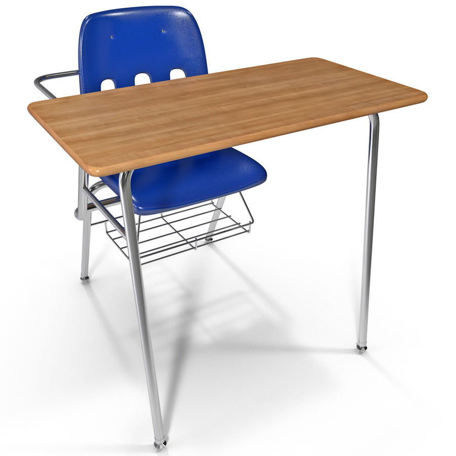 Students Desk royalty-free 3d model - Preview no. 2