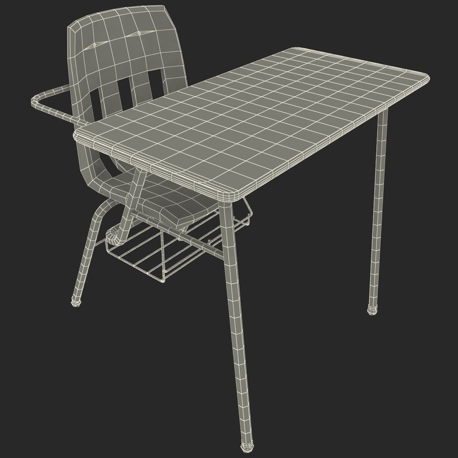 Students Desk royalty-free 3d model - Preview no. 30