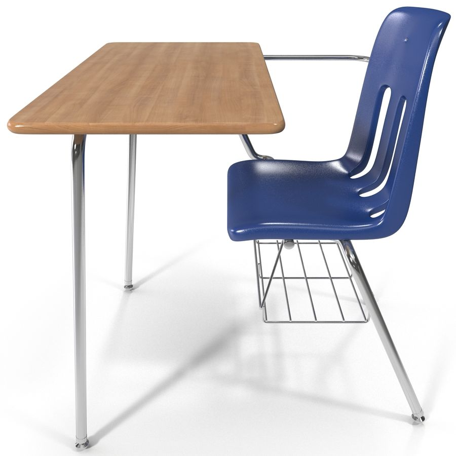 Students Desk royalty-free 3d model - Preview no. 4