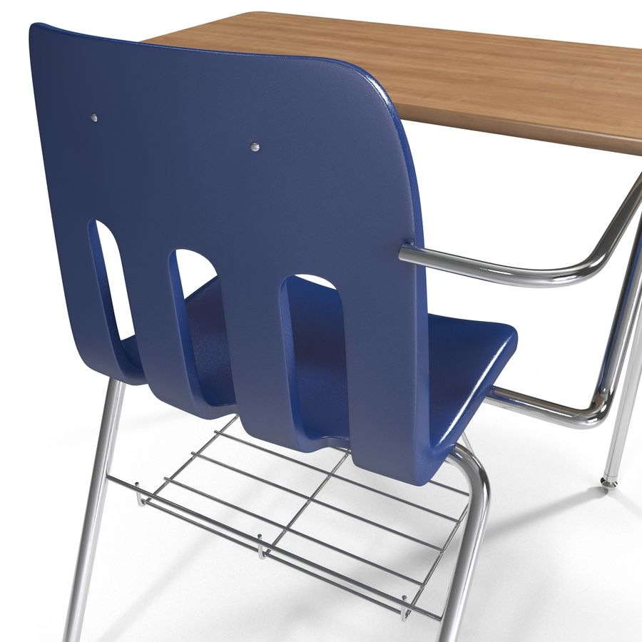 Students Desk royalty-free 3d model - Preview no. 18