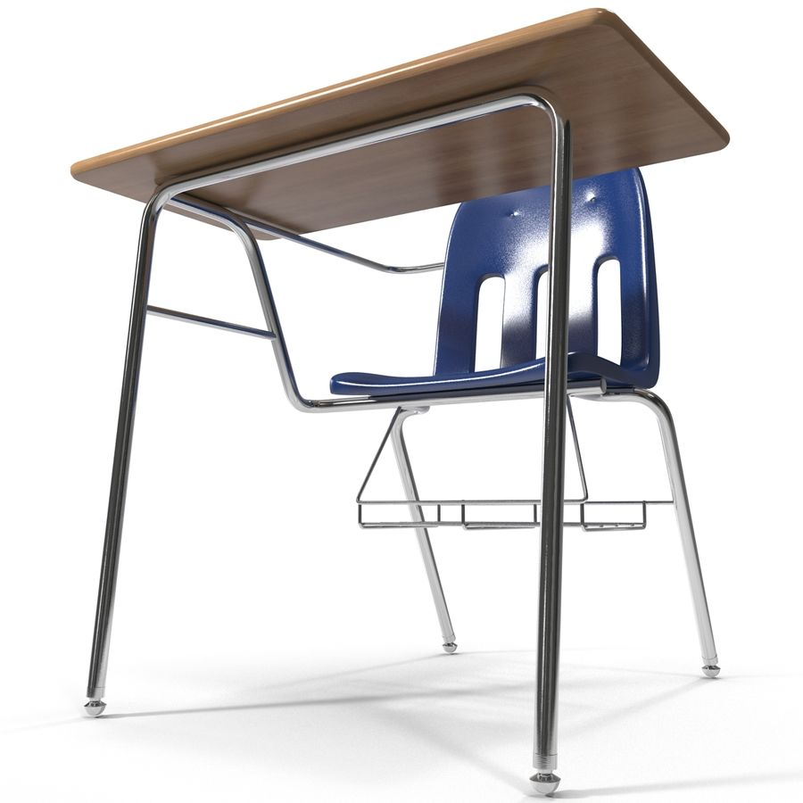 Students Desk royalty-free 3d model - Preview no. 14