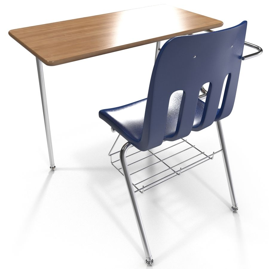 Students Desk royalty-free 3d model - Preview no. 10