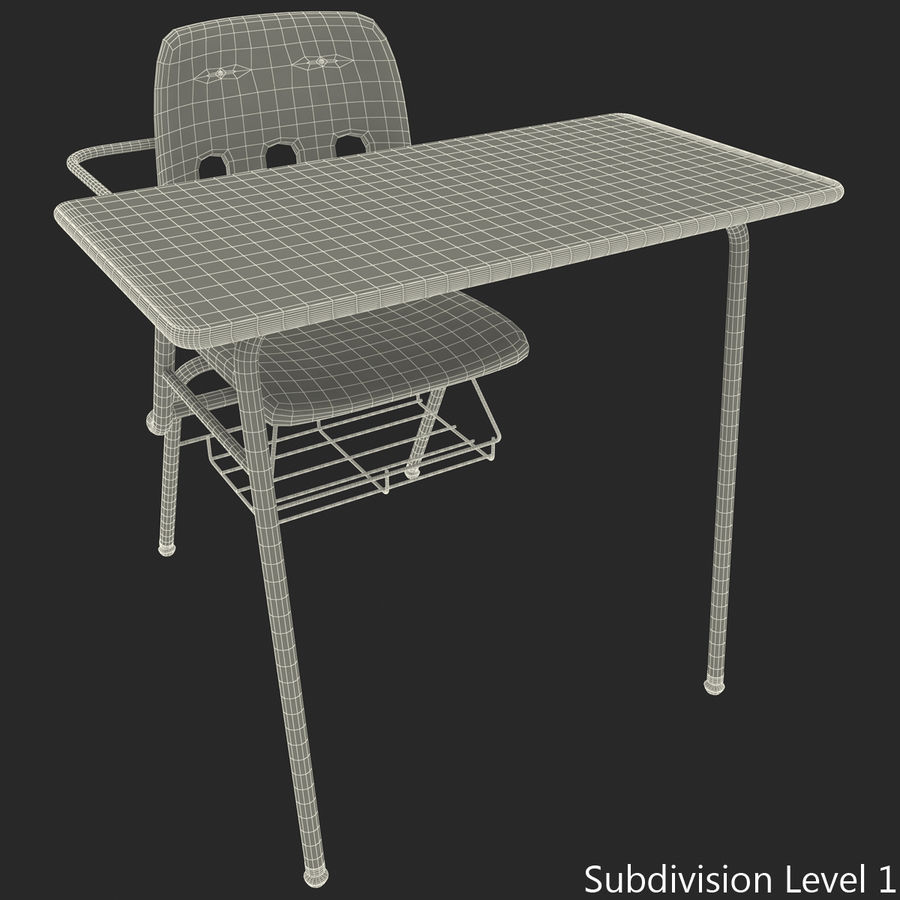 Students Desk royalty-free 3d model - Preview no. 37