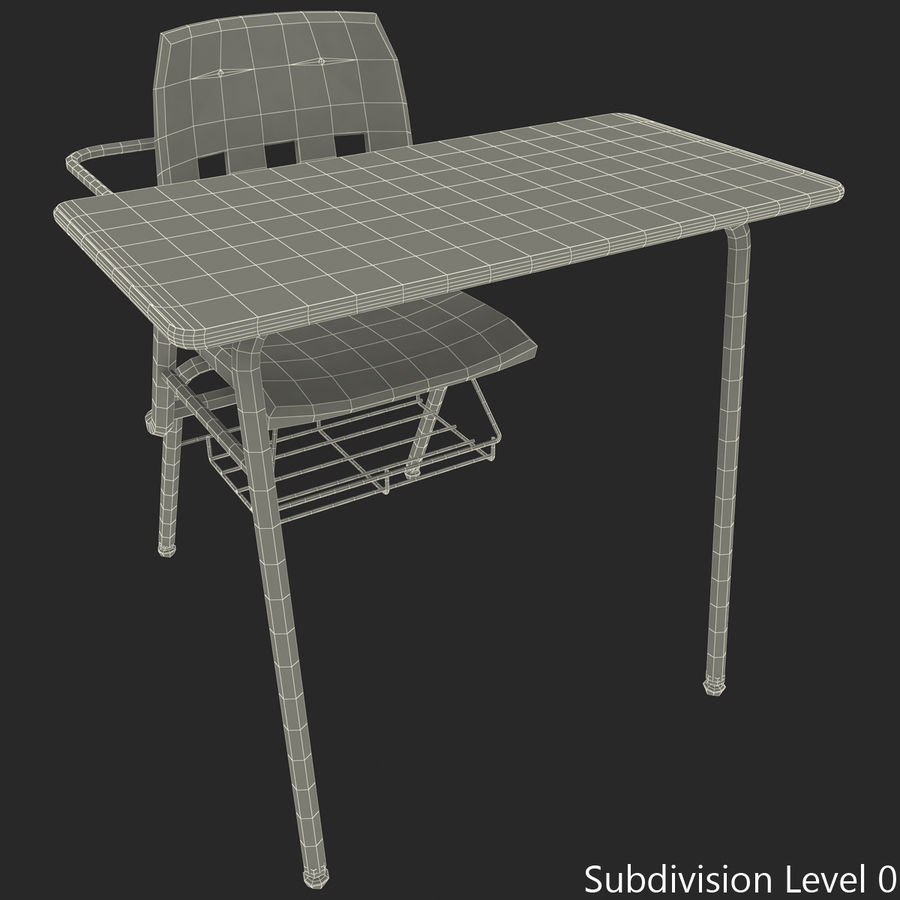 Students Desk royalty-free 3d model - Preview no. 36