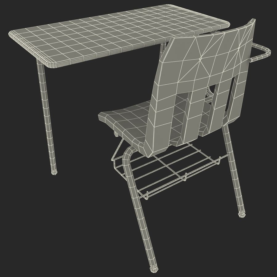 Students Desk royalty-free 3d model - Preview no. 27