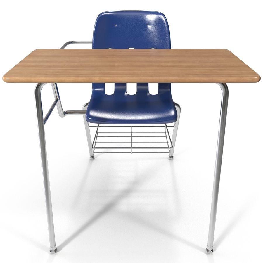 Students Desk royalty-free 3d model - Preview no. 3