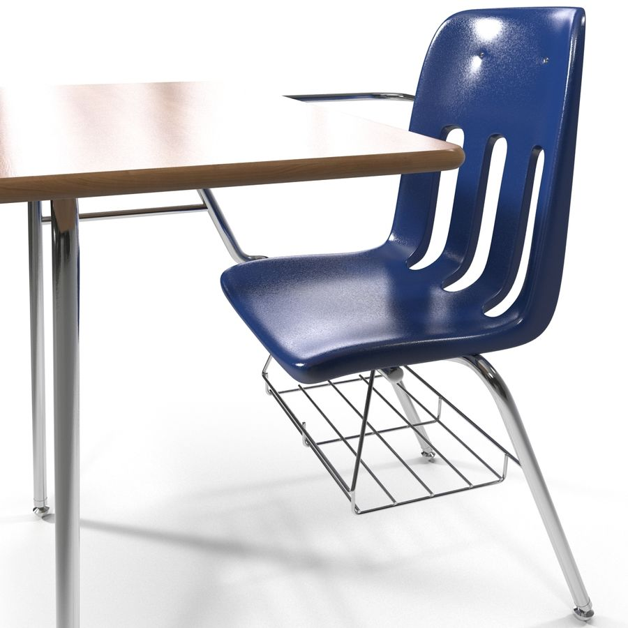 Students Desk royalty-free 3d model - Preview no. 15