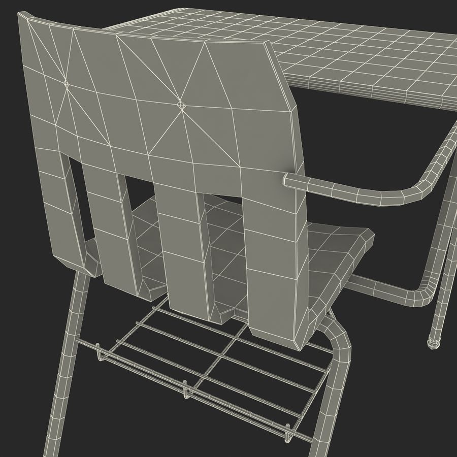 Students Desk royalty-free 3d model - Preview no. 35