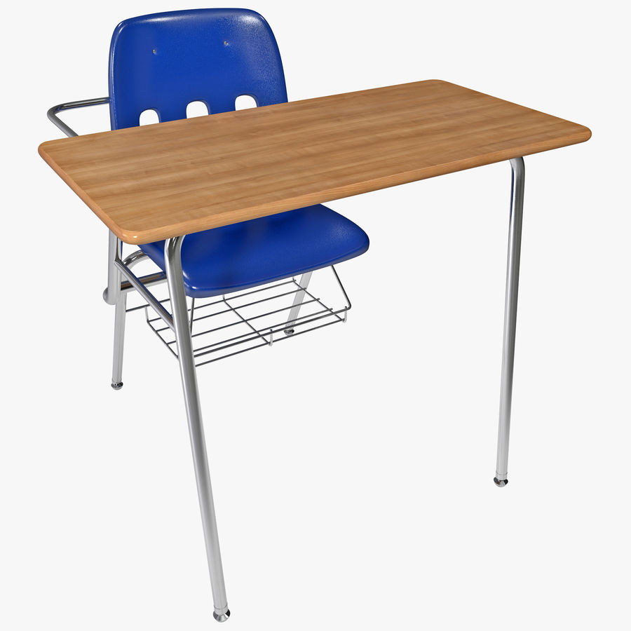 Students Desk royalty-free 3d model - Preview no. 1
