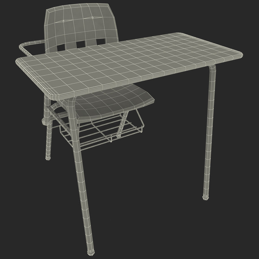 Students Desk royalty-free 3d model - Preview no. 20