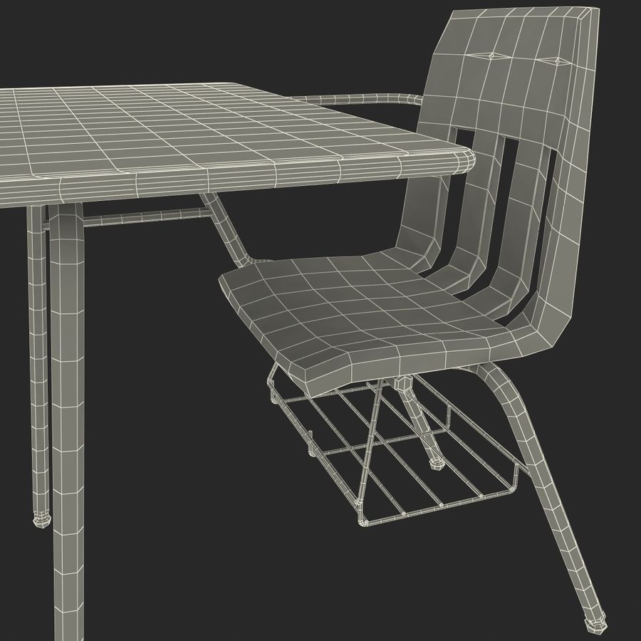 Students Desk royalty-free 3d model - Preview no. 32