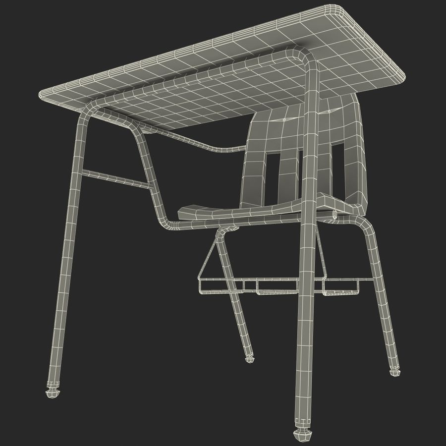 Students Desk royalty-free 3d model - Preview no. 31