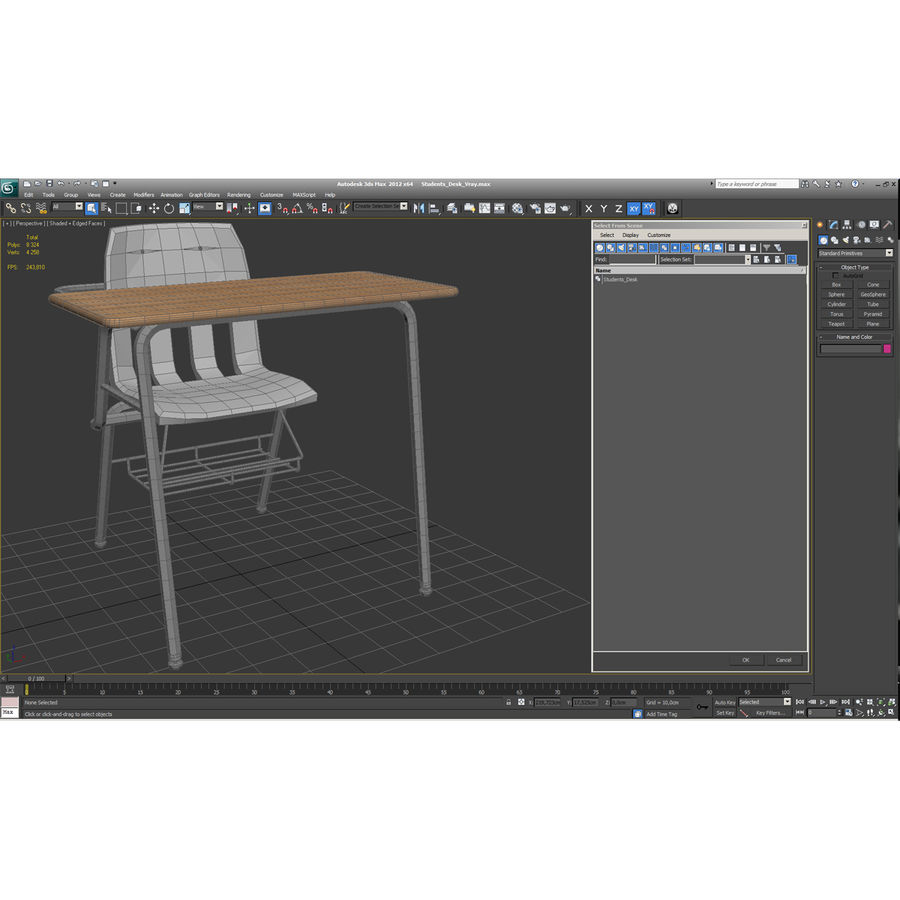Students Desk royalty-free 3d model - Preview no. 40