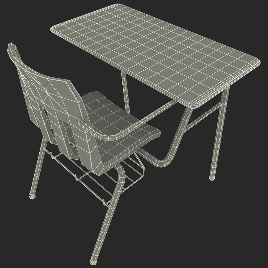Students Desk royalty-free 3d model - Preview no. 28