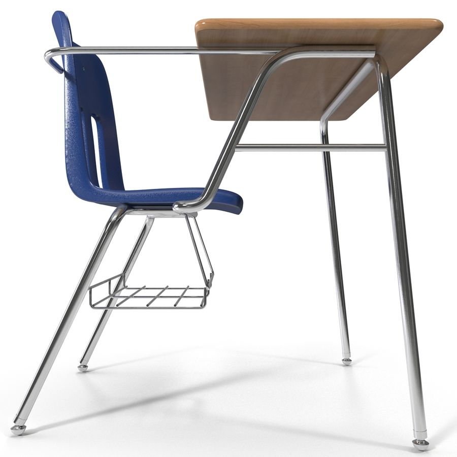 Students Desk royalty-free 3d model - Preview no. 6